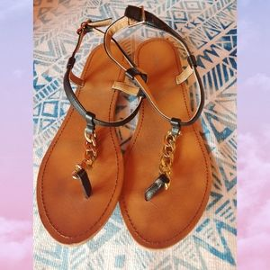Forever 21 Gold Chain Thong Sandals 9